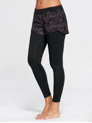 Camo Printed Sports Two Layered Leggings - Noir S