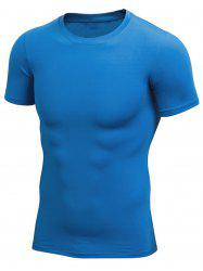 Short Sleeve Stretchy Fitted Gym T-shirt - BLUE XL