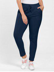 Plus Size Drawstring Waist Skinny Pants - PURPLISH BLUE 3XL