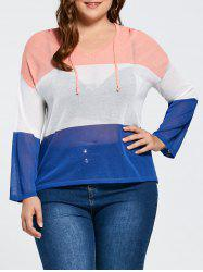 Plus Size Transparent  Color Block Hooded Sweater -