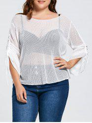 Bell Slit Sleeve Plus Size Sheer Crochet Knit Sweater