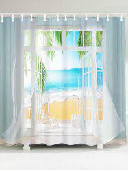 Waterproof 3D False Window Seawater Printed Shower Curtain