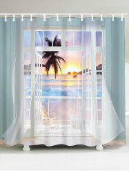 3D False Window Sunset Printed Shower Curtain