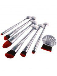 7Pcs Plated Ocean Shell Facial Makeup Brushes Kit