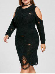 Open Shoulder Plus Size Distressed Sweater Dress