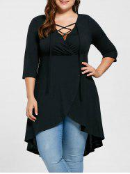 Plus Size Overlap Lace Up Top - BLACK