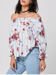 Off The Shoulder Striped Floral Print Blouse