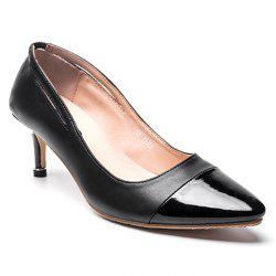 PU Leather Pointed Toe Kitten Heel Pumps - BLACK