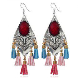 Faux Ruby Vintage Tassel Hook Earrings
