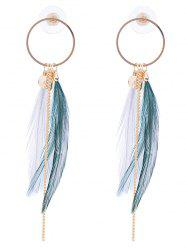 Natural Feather Link Chain Circle Drop Earrings