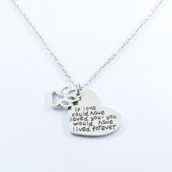 Love Heart Footprint Claw Pendant Necklace