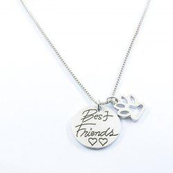 Best Friend Heart Footprint Claw Necklace
