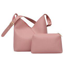 PU Leather Two Pieces Shoulder Bag Set - LIGHT PINK