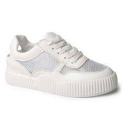 Round Toe Breathable Hollow Out Sneakers - WHITE