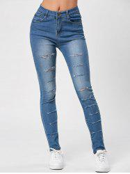 Distressed High Waisted Ripped Jeans