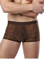 U Convex Pouch Elastic Waist Skull Boxer Brief - COFFEE 3XL