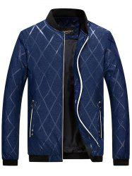 Zip Pocket Diamond Bomber Jacket - DEEP BLUE