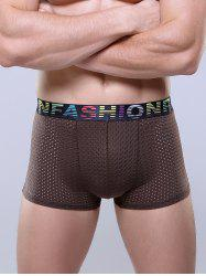 Openwork Elastic Waist U Pouch Boxer Brief - COFFEE 3XL