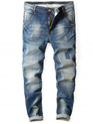 Zipper Fly Faded Straight Jeans