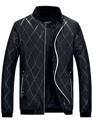 Zip Pocket Diamond Bomber Jacket - BLACK