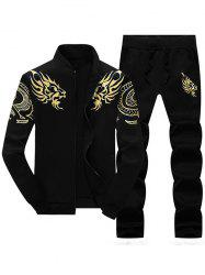 Dragon Totem Print Jacket and Sweatpants Suit - BLACK