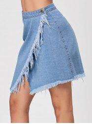 Frayed High Waisted Wrap Denim Skirt