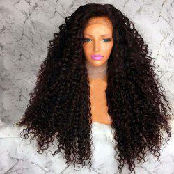 Long Free Part Afro Fluffy Curly Lace Front Synthetic Wig - BROWN
