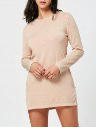 Long Sleeve Sweater Shift Dress with Zipper