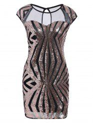 Mesh Panel Sequin Bodycon Club Dress - GOLDEN XL