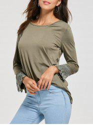 High Low Lace Panel T-shirt