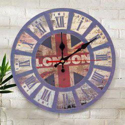 Union Flag Wood Round Analog Wall Clock - BLUE