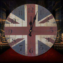 Union Flag Wood Round Analog Wall Clock