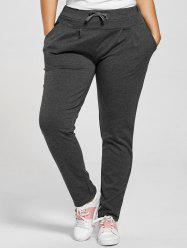 Drawstring Waist Skinny Plus Size Pants