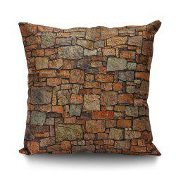 Natural Brick Print Cushion Cover Pillowcase - BROWN