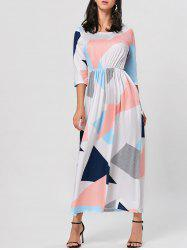 Color Block Maxi Geo Printed Dress
