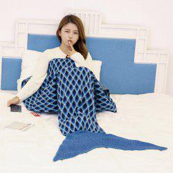 Knitted Peacock Pattern Mermaid Tail Blanket Throw - CADETBLUE