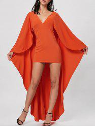 Plunge Neck Cape Bodycon Dress