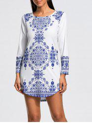 Porcelain Print Long Sleeve Mini Dress