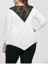Plus Size Crew Neck Lace Trim Sweatshirt - WHITE