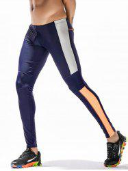 Openwork Panel Stretchy Side Color Block Gym Pants - CERULEAN XL