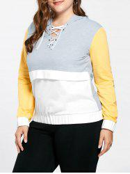 Plus Size Lace Up Color Block Hoodie - YELLOW