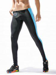 Badge Print Side Stripe Stretchy Gym Pants - BLACK XL