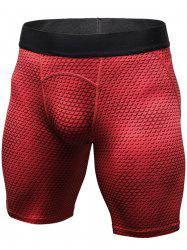 3D Geometric Print Quick Dry Fitted Gym Shorts - RED XL