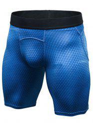3D Geometric Print Quick Dry Fitted Gym Shorts - BLUE L