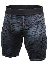 3D Geometric Print Quick Dry Fitted Gym Shorts - BLACK 2XL