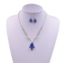 Sparkly Rhinestone Faux Gem Teardrop Jewelry Set - BLUE