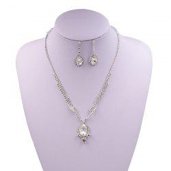 Sparkly Rhinestone Faux Gem Teardrop Jewelry Set -