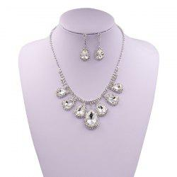 Rhinestone Faux Gem Teardrop Wedding Jewelry Set -