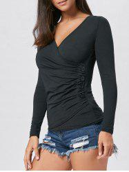 Long Sleeve V Neck Button Draped Tee