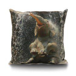 Elephant Bathing Decorative Linen Sofa Pillowcase